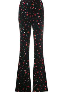 Derek Lam 10 Crosby Odessa Slim Flare Splatter Floral Trousers - Preto