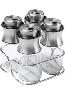Conjunto Porta Condimentos Brinox Cucina Parma Vidro/Inox 5 Peças