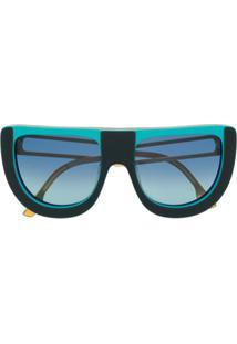 Fendi Eyewear Óculos De Sol Oversized Degradê - Azul
