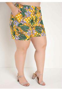 Short Floral Amarelo Com Bolsos Plus Size