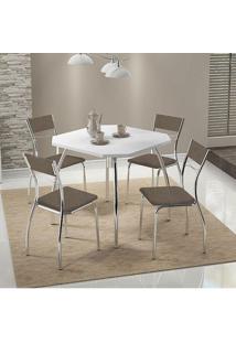 Mesa 1504 Branca Cromada Com 4 Cadeiras 1701 Camurça Conhaque Carraro