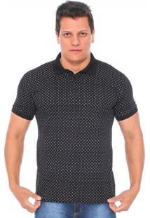 Camisa Polo Hiatto Piquet Micro Estampa Manga Curta Masculina - Masculino-Preto