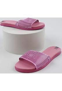 Chinelo Slide Feminino Zaxy It Girl Metalizado Rosa Escuro