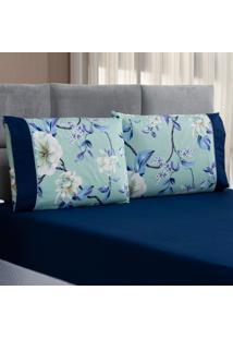 Jogo De Cama Forest Floral Verde/Marinho King Micropercal 200 Fios 03 Peã§As - Azul Marinho - Dafiti