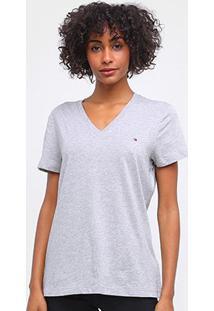 Camiseta Tommy Hilfiger Logo Básica Feminina - Feminino-Cinza