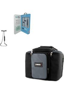 Kit Bolsa Térmica Fitness Cinza G Fone De Ouvido Bluetooth Sports