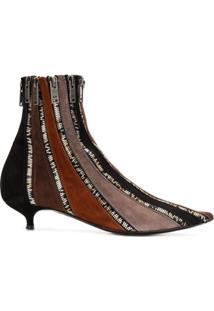 Sonia Rykiel Ankle Boot De Couro Com Zíper - Marrom