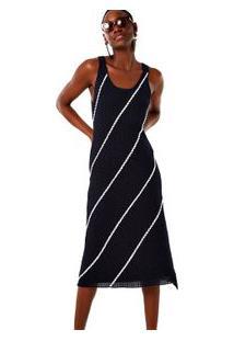 Vestido Regata Listrado Diagonal Marinho/Off White