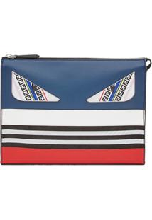 Fendi Zipped Panelled Clutch Bag - Azul