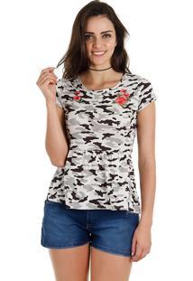 Camiseta Camuflada Feminina Fakini - Cinza
