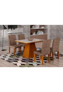 Conjunto De Mesa De Jantar Luna Com 4 Cadeiras Ane I Suede Animalle Imbuia, Branco E Chocolate