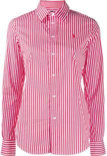 Polo Ralph Lauren Camisa Slim Listrada - Vermelho