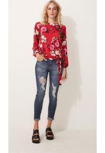 Blusa Floral Adulto Malwee - Vermelho - G