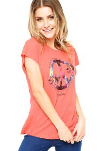 Blusa Manga Curta Hang Loose Beach Peace Rosa