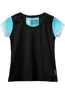 Camiseta Baby Look Feminina Algodão Estampa Estilo Leve Moda Azul Claro/Branco G Azul
