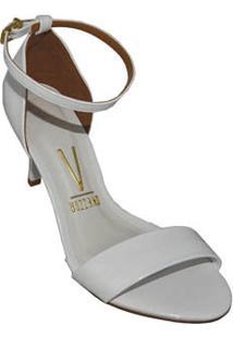 Sandalia Salto Fino Branca Verniz Vizzano 59372039