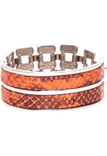 Bracelete Portrait Couro Cobra Laranja