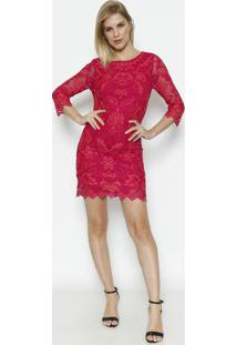 Vestido Em Tule Com Bordados - Pink & Coral - Kwikwi
