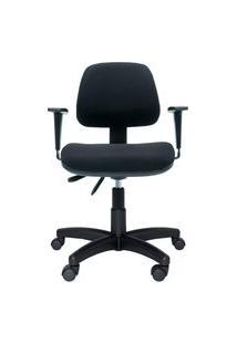 Cadeira Ergonômica Profission. Ajuste Lombar. Estrutura E Base Preta. Tecido. Braços Reguláveis. Prolabore Produtos Ergonômicos