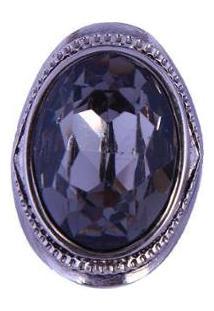 Anel Armazem Rr Bijoux Pedra Oval Feminino - Feminino-Prata