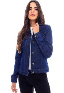 Jaqueta Jeans Sob Básica Azul Escura Com Elastano