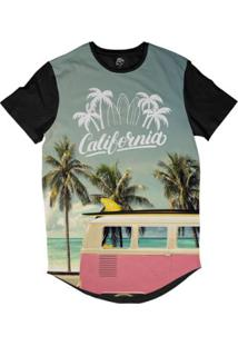 Camiseta Bsc Longline California Kombi Praia Sublimada - Masculino-Preto