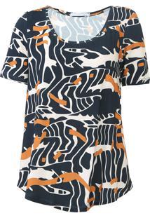 Camiseta Sacada Deserto Bege/Azul-Marinho - Kanui