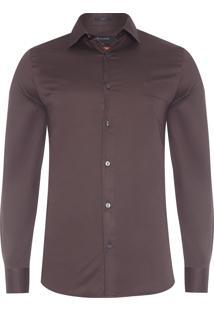Camisa Masculina Lisa Cetim - Marrom