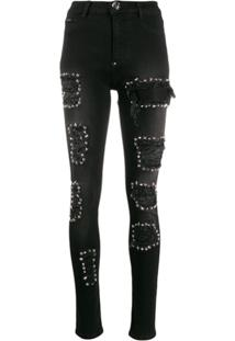 Philipp Plein High Waist Jegging Studded Jeans - Preto