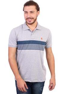 Camisa Polo New York Polo Club Listrada - Masculino-Cinza