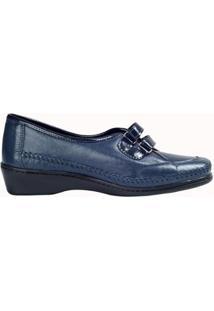 Sapato Fechado Confort Em Couro De Cabra - Feminino-Azul