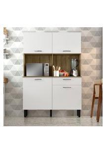 Armário Para Cozinha 4 Portas 1 Gaveta Itatiaia I1 Castanho E Branco