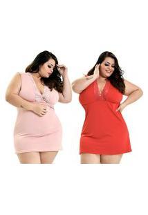 Kit 2 Camisola Plus Size Microfibra Renda Regata Rosê Vermelho