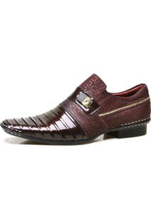 Sapato Social Calvest Em Couro Verniz Com Textura Bordo