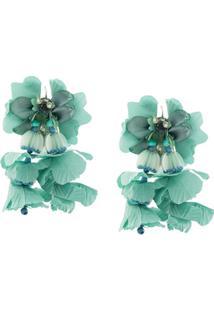 Biyan Long Flower Earrings - Verde