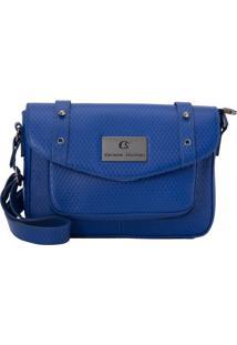 Bolsa Em Couro & Rebites- Azul Escuro- 20X26X7,5Cmcarmen Steffens