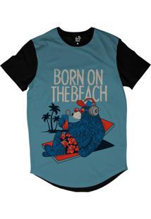 Camiseta Longline Long Beach Urso Praia Sublimada Azul