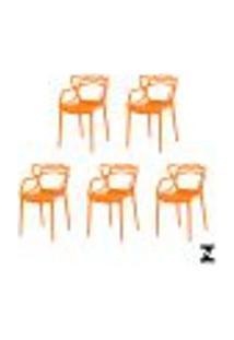 Kit 5 Cadeiras Allegra Laranja Sala Cozinha Jantar