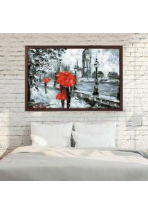 Quadro Love Decor Com Moldura London Red Madeira Escura Médio