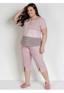 Pijama Com Botões Frontais Listras E Rosa
