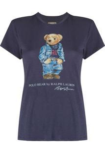 Polo Ralph Lauren Camiseta De Algodão Com Estampa Polo Bear - Azul