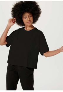 Blusa Básica Feminina Modelagem Box Em Algodão Pr