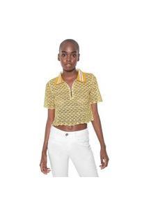 Blusa Cropped My Favorite Thing(S) Tricot Estampada Amarela
