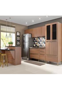 Cozinha Compacta Calábria 12 Portas 4 Gavetas Nogueira/Malt - Multimóveis