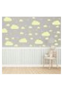 Adesivo De Parede Infantil Nuvens Amarelo 64Un