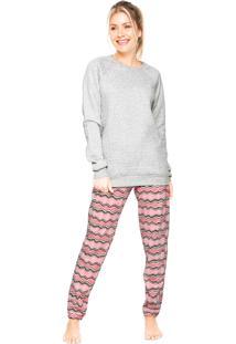 Pijama Cor Com Amor Matelas Cinza/Rosa