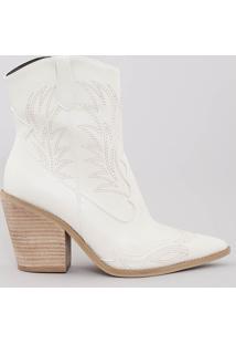 Bota Feminina Cowboy Bordada Bico Fino Off White