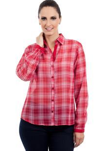 Camisa Love Poetry Xadrez Vermelha