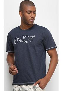 Camiseta Aleatory Enjoy Masculina - Masculino-Marinho