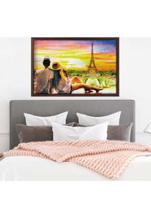 Quadro Love Decor Com Moldura Amour Parisien Madeira Escura - Médio